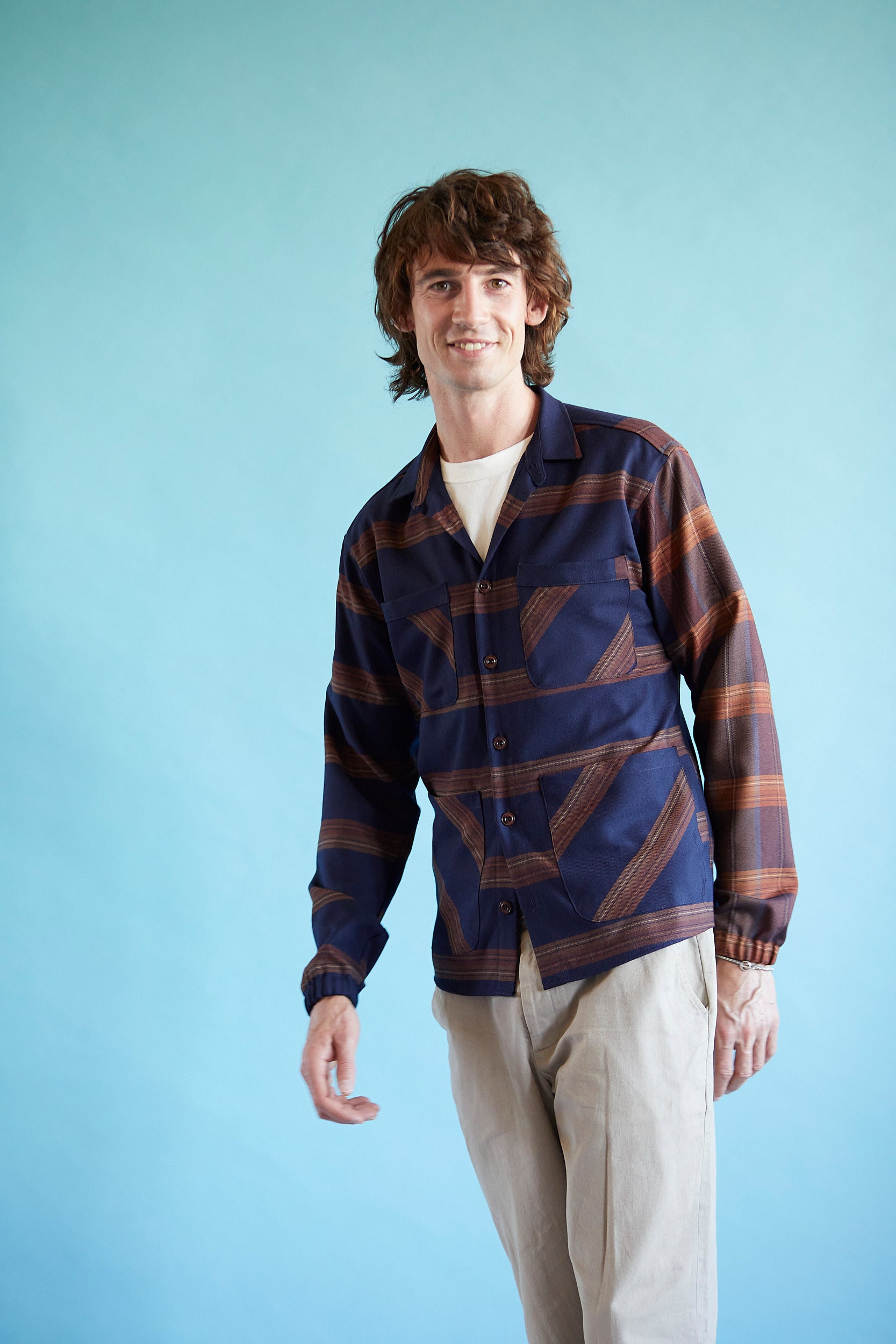 Brushed Cotton Overshirt - Navy mega Stripe/Check