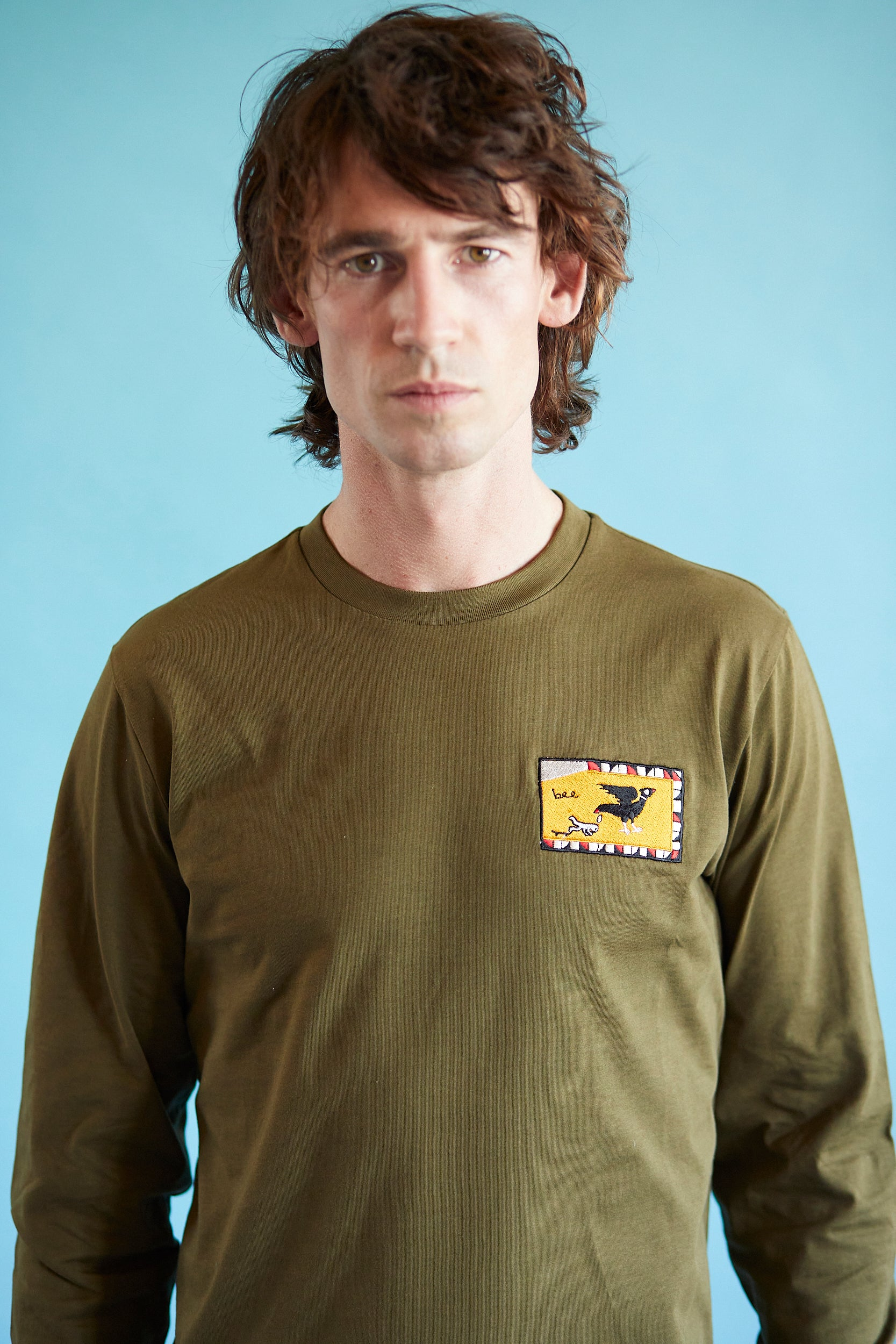 Long Sleeve T Shirt - Flag - Khaki