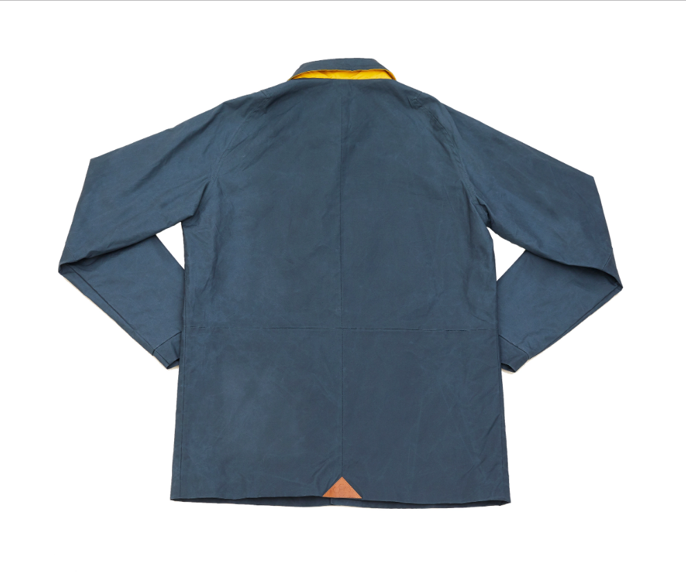 Dry Waxed Coach Jacket - Grey/Blue
