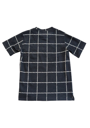 Knitted giant check T-shirt - Indigo