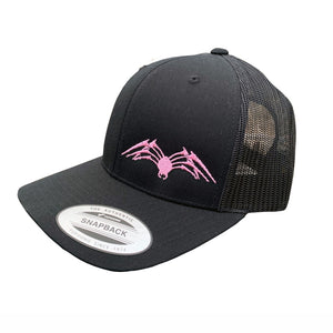 Mesh Back Black/Black/Pink Embroidered Cap