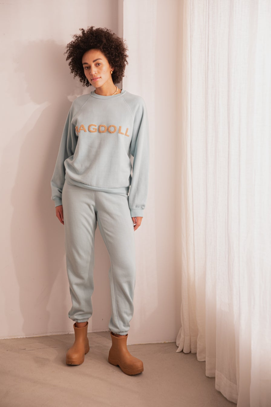 HIGH WAISTED JOGGER WITH TERRY PATCH Light Blue