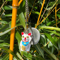 LIMITED STOCK - Mesh Ball with Lucky Cat Charm - 20 available