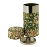 200g Japanese Tin - Green with Pink Cherry Blossom
