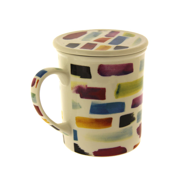 Paintmark Motif Mug with Infuser - White New Bone China