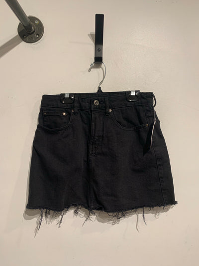 TRF Black Denim Skirt Raw Hem