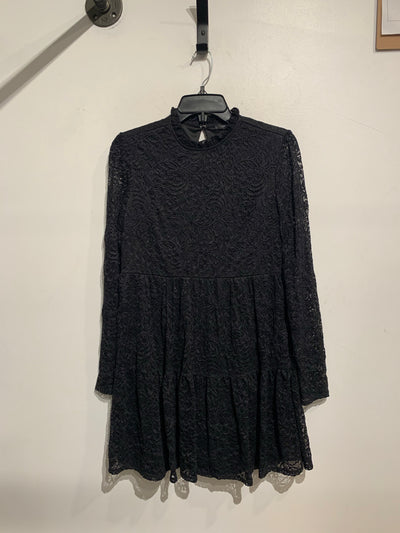 F21 Black Lace Sheer Slv Dress
