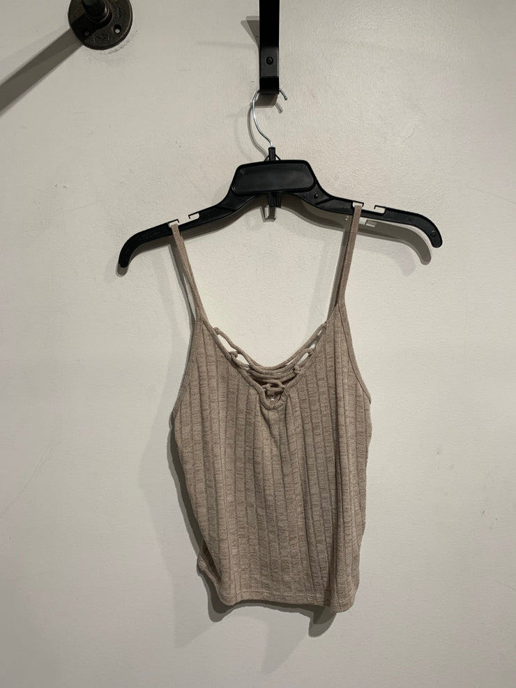 AE Beige Lace Up Neck Tank
