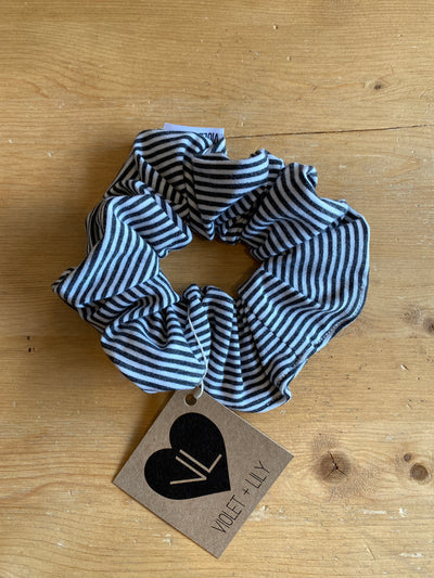Charcoal Striped Scrunchie