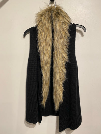BB Dakota Blk/Fur Knit Vest