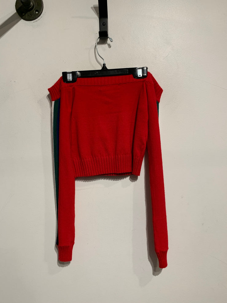F21 Red Off Shoulder Crop L.Sl