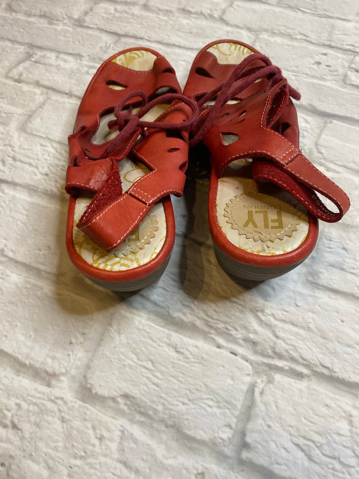 London Fly Red Wedge Sandal