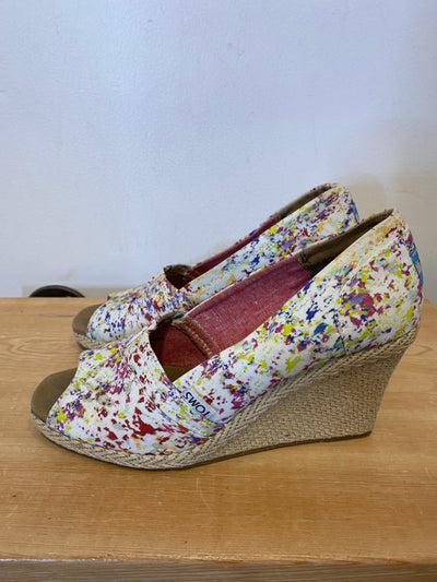 Toms White/Colour Wedges