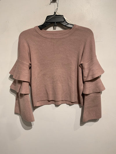 Revamped Pink Ruffle Slv Crop
