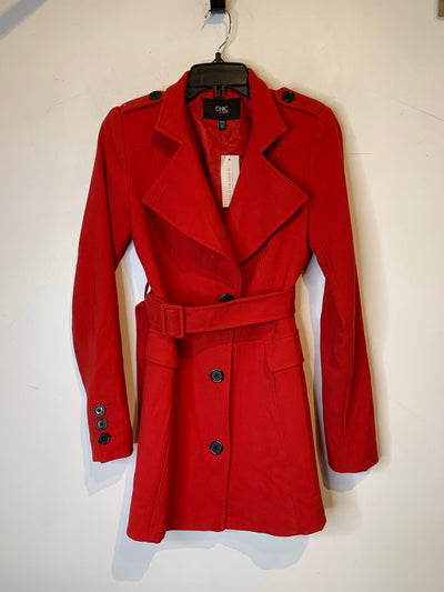 Chic Red Belted Trench