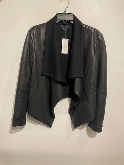 Theory Blk Crop Leather Jacket