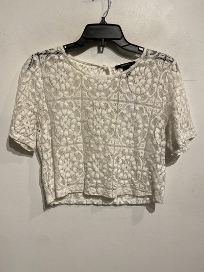 F21 White Lace Sheer Crop