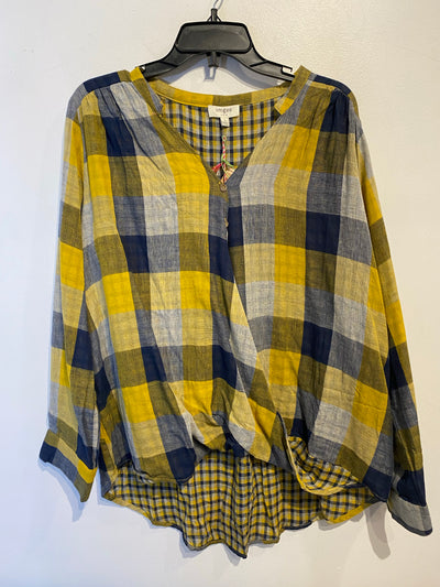 Umgee Yellow/Navy Blouse
