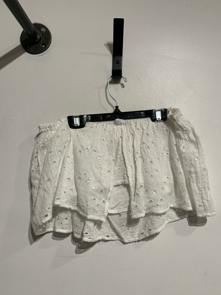 Hollister White Eyelet Crop