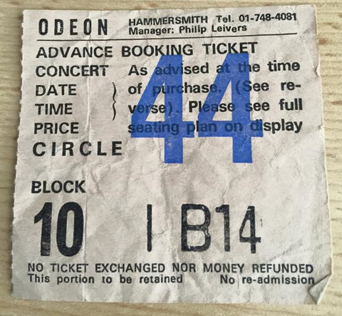Ticket stub from the ledgendary No Sleep 'Till Hammersmith Motorhead concert.