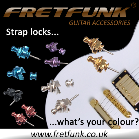 Coloured Guitar Strap Locks available from Fretfunk in silver chrome, gold, black, blue, red and purple