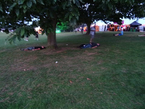 Ramblers having a rest at the Ramblin man Fair 2016