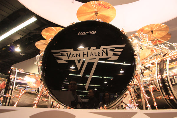 Image of Alex Van Halen Drum Kit at NAMM show