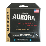 Aurora Premium Coloured Acoustic Guitar Strings 12-54 Black