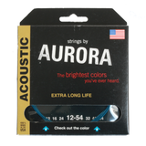 Aurora Premium Coloured Acoustic Guitar Strings 12-54 Blue