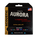 Aurora Premium Coloured Acoustic Guitar Strings 12-54 Multi-Coloured