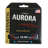 Aurora Premium Coloured Acoustic Guitar Strings 12-54 Red