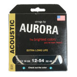 Aurora Premium Coloured Acoustic Guitar Strings 12-54 Silver