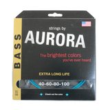 Aurora Premium Coloured Bass Guitar Strings for 4-String Basses 40-100 Aqua
