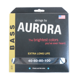Aurora Premium Coloured Bass Guitar Strings for 4-String Basses 40-100 Black