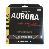 Aurora Premium Coloured Bass Guitar Strings for 4-String Basses 40-100 Gold