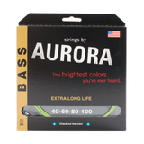 Aurora Premium Coloured Bass Guitar Strings for 4-String Basses 40-100 Nitro Lime