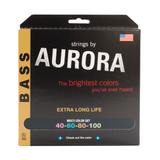 Aurora Premium Coloured Bass Guitar Strings for 4-String Basses 40-100 Multi Coloured