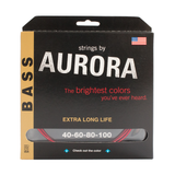Aurora Premium Coloured Bass Guitar Strings for 4-String Basses 40-100 Red