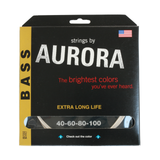 Aurora Premium Coloured Bass Guitar Strings for 4-String Basses 40-100 White