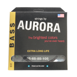 Aurora Premium Coloured Bass Guitar Strings for 4-String Basses 45-105 Black