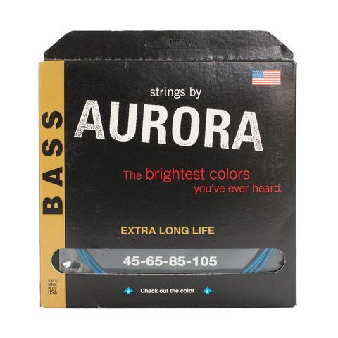 Aurora Premium Coloured Bass Guitar Strings for 4-String Basses 45-105 Blue