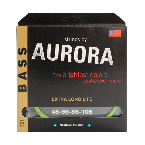 Aurora Premium Coloured Bass Guitar Strings for 4-String Basses 45-105 Nitro Lime
