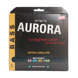 Aurora Premium Coloured Bass Guitar Strings for 4-String Basses 45-105 Multi Coloured