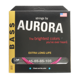 Aurora Premium Coloured Bass Guitar Strings for 4-String Basses 45-105 Pink