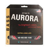 Aurora Premium Coloured Bass Guitar Strings for 4-String Basses 45-105 Red