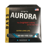 Aurora Premium Coloured Bass Guitar Strings for 5-String Basses 45-125 Aqua