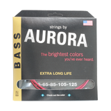 Aurora Premium Coloured Bass Guitar Strings for 5-String Basses 45-125 Red