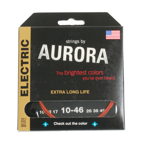 Aurora Premium Coloured Electric Guitar Strings 10-46 Orange