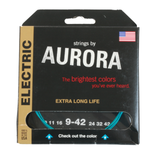 Aurora Premium Coloured Electric Guitar Strings 9-42 Aqua
