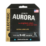 Aurora Premium Coloured Electric Guitar Strings 9-42 Black
